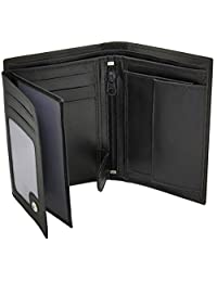 RAS® MENS HIGH LUXURY SOFT LEATHER TRI FOLD DESIGN WALLET CREDIT CARD SLOTS AND COIN POCKET #503 (BLACK)