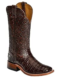 Boulet Western Boots Women Cowboy Exotics Belly Caiman Choc Brown 3510