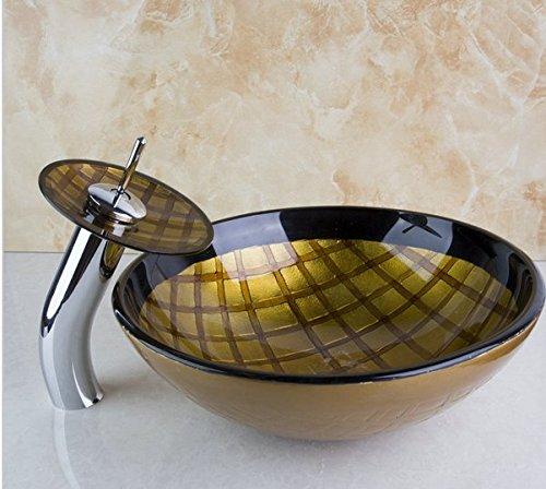 GOWE Tempered Grid Pattern Bathroom Basin Sink Real Estate Vessel Faucet Lavatory Glass Basin Set 1