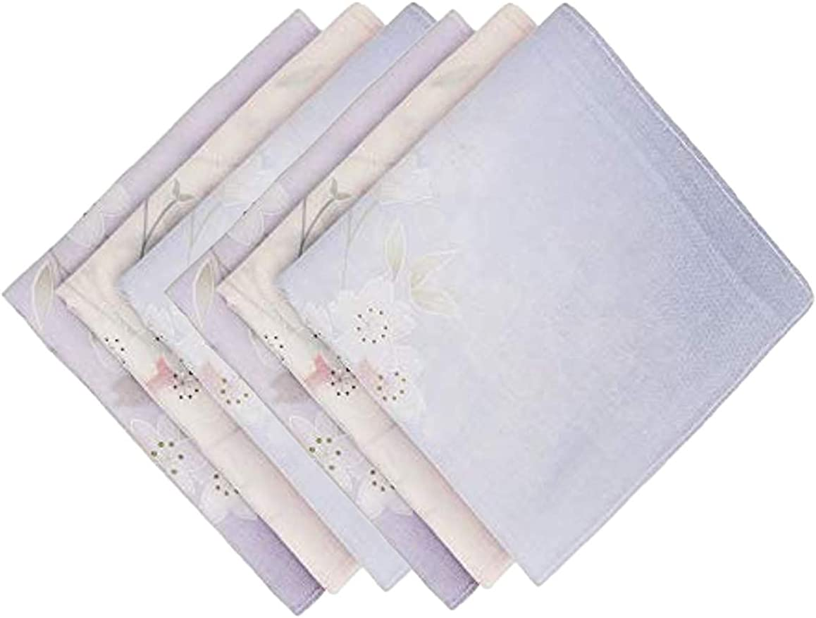 Gomerbesen Gradient Floral Ladies Handkerchiefs 100/% 60S Cotton Hankies for Wedding Party