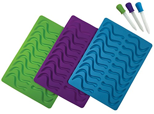 (Better Kitchen Products, 3 Piece, 20 Cavity Silicone Gummy Worm Molds with 3 Matching Droppers, Purple, Aqua and Lime)