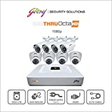 Godrej Octra HD 1080p SEHCCTV1500-4B4D 1.3MP 8-Channel DVR with 4 Bullet and 4 Dome Cameras (White)
