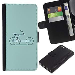 Planetar® Modelo colorido cuero carpeta tirón caso cubierta piel Holster Funda protección Para Apple (5.5 inches!!!) iPhone 6+ Plus ( Bike Green Hipster Culture Old )
