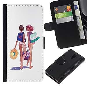 Stuss Case / Funda Carcasa PU de Cuero - Beach Girls Bikini Traje Art Dibujo de Verano - Samsung Galaxy S4 IV I9500