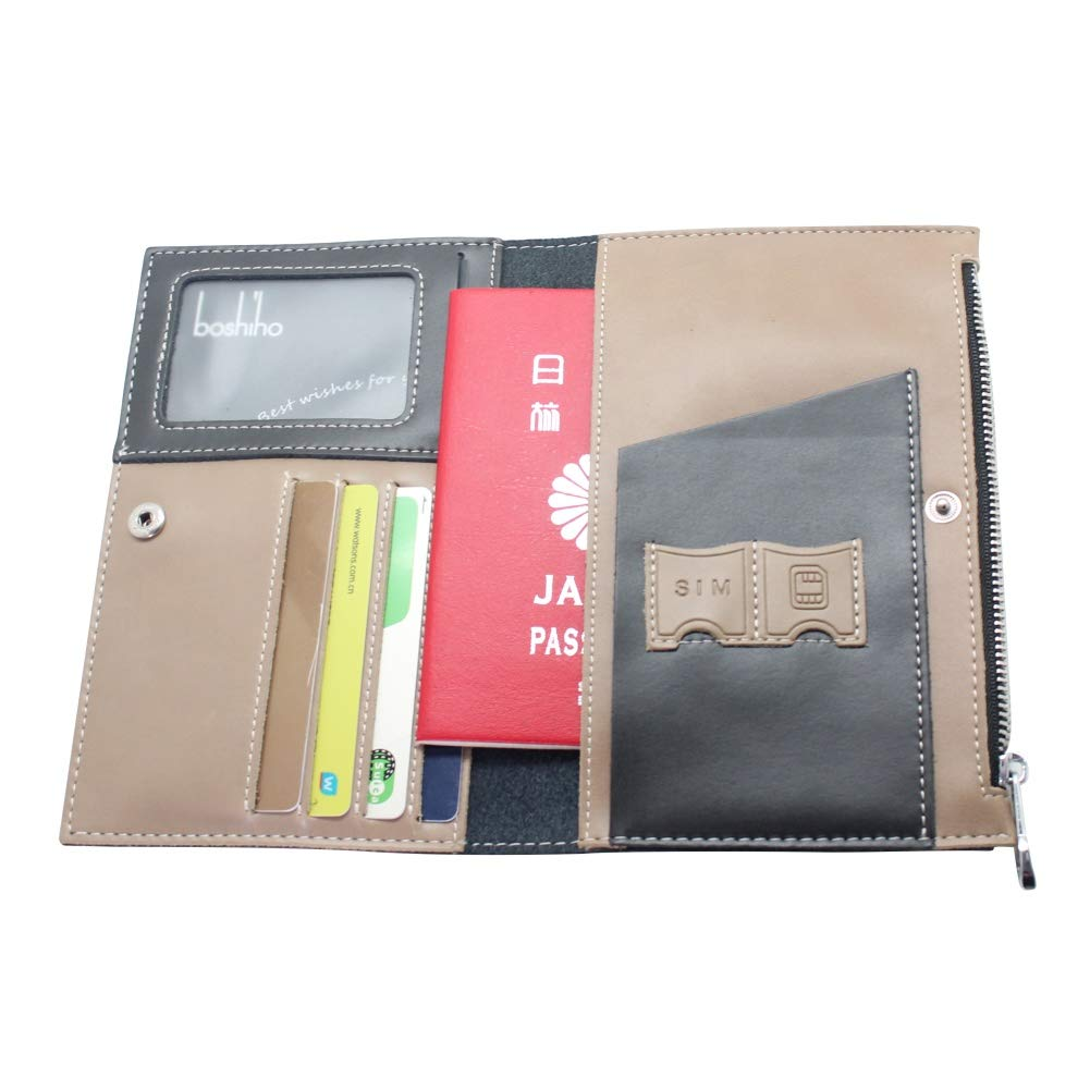 Boshiho Travel Passport Wallet Credit Card Holder for Men /& Women with Zipper Pocket ID Card Slot-Genuine Leather Multi-Purpose Black