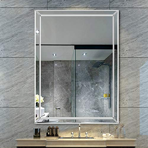 Wall Mirror Rectangle Frameless Beveled Mirror Hangs Vertically, Perfect for Bedroom/Bathroom (40 x 28 in) ()