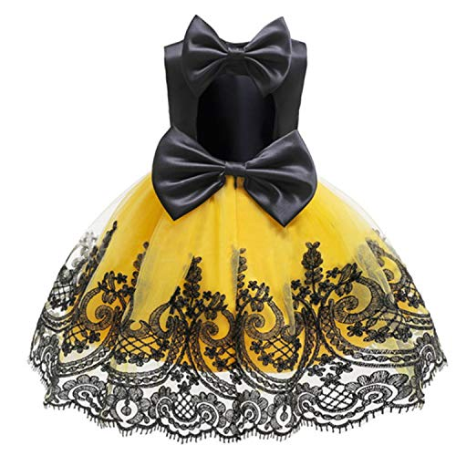 The Fairy Flower Girls Dresses for Birthday Party Clothes Lace Pageant Baby Girls Sleeveless Princess Wedding Children Prom Gowns,Yellow,8