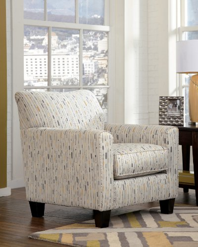 "Ashley Hodan 7970021 35"" Accent Chair with Patterned Upholstery Tapered Legs and Loose Seat Cushion in"