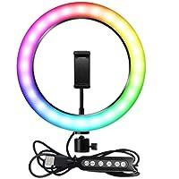 Kit Completo Anel de Luz LED Com Tripé e Suporte para Celular Ring Light 26cm RGB 10 Polegadas Fotos e Vídeos…
