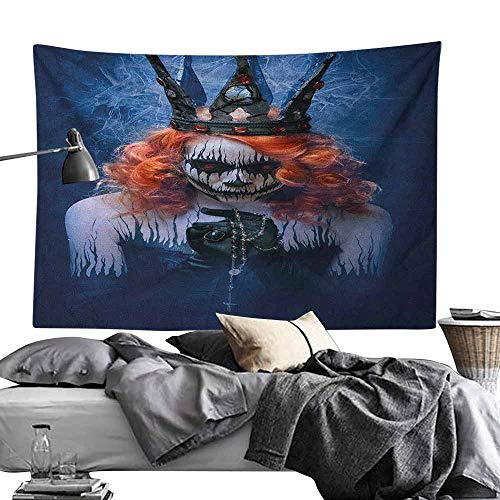 Maureen Austin Yoga TapestryQueen,Queen of Death Scary Body Art Halloween Evil Face Bizarre Make Up Zombie, Navy Blue Orange Black Wall Hanging for Dorm Living Room Bedroom50 x60 -