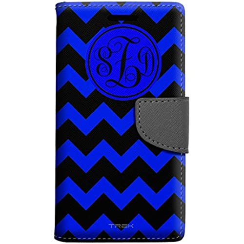 Monogram Samsung Galaxy S7 Edge Wallet Case - Chevron Blue and Black Sales