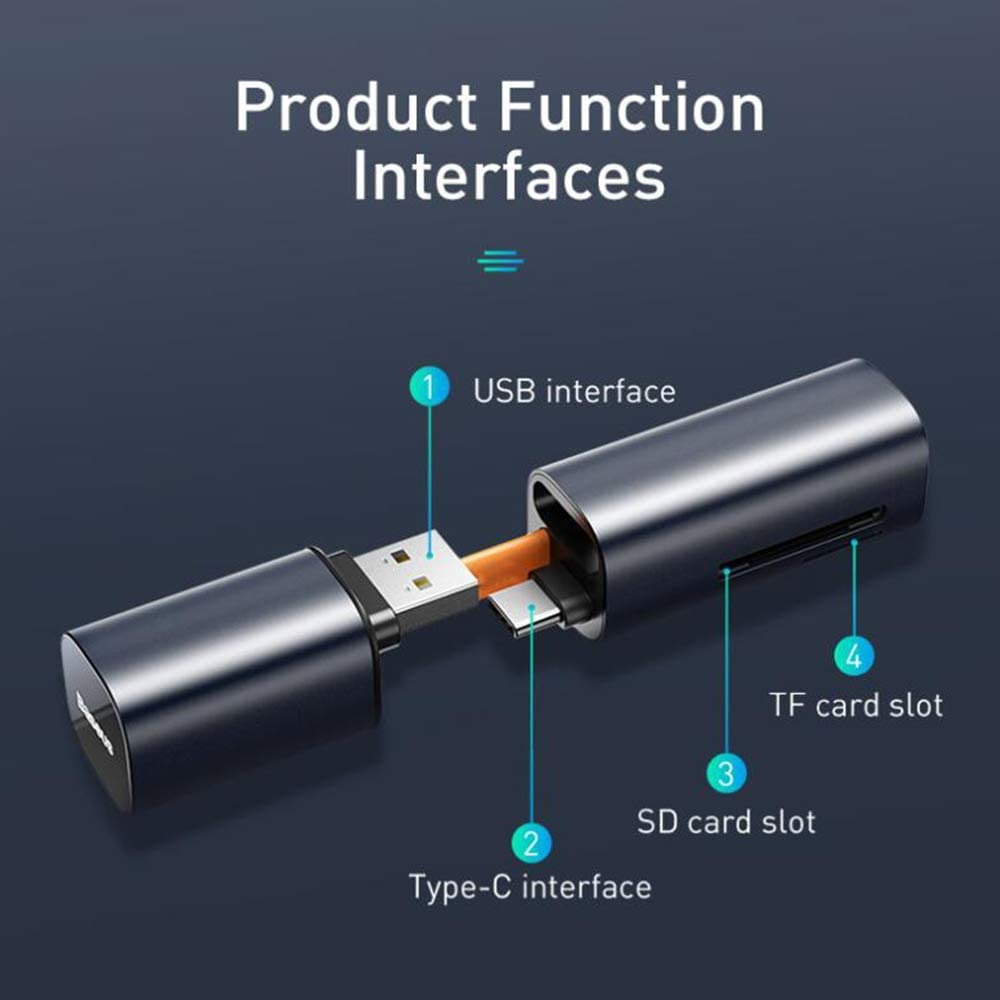 Portable Type C USB 3.0 Micro USB Card Reader YWT SD Card Reader Linux Windows PC Tablets Mac Laptop SD TF Memory Card Reader Adapter for MacBook