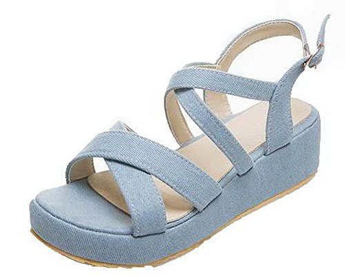 Sandals Fabric Toe Open Buckle Solid LightBlue Women's Heels WeenFashion Kitten 8qaSn