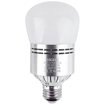 Bombilla de Sensor LED, E27 15W Bombilla LED Blanco Cálido Bombilla Crepuscular Led Automático,