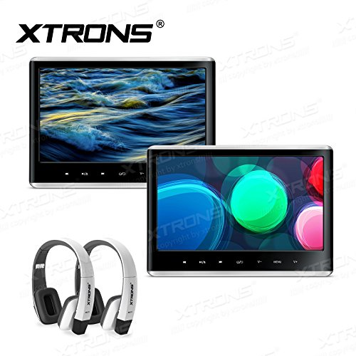 XTRONS Touch Panel 11.6 Inch Full HD Display 1080P Video Car Active Headrest Mounted DVD Player Games AV In/Out HDMI Pair White New Version Headphones