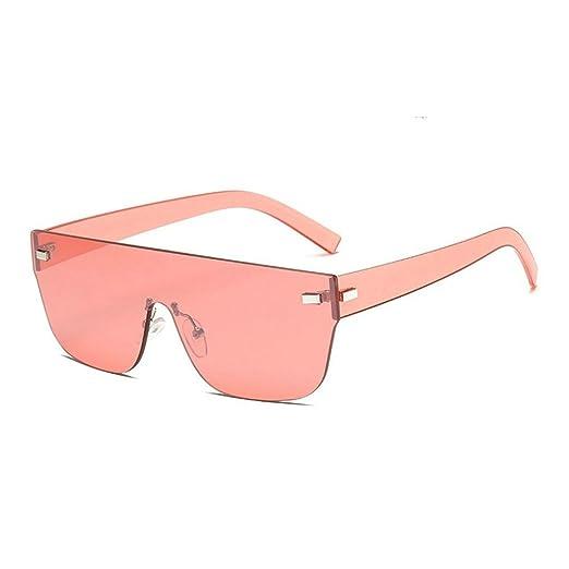 c704d6dcf8 Amazon.com  MINCL One Piece Lens Oversized Rimless Sunglasses Women Vintage  Style Brand Designer Eyewear UV400 (pink)  Clothing