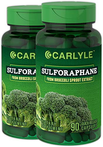 Carlyle Sulforaphane Broccoli Sprout 180 Capsules | Supports Healthy Liver Function | Non-GMO and Gluten Free Supplement from Broccoli Sprout Extract |