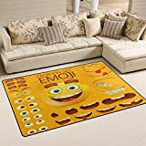 WOZO Yellow Smiley Face Emoji Emotion Area Rug Rugs Non-Slip Floor Mat Doormats Living Room Bedroom 60 x 39 inches Review