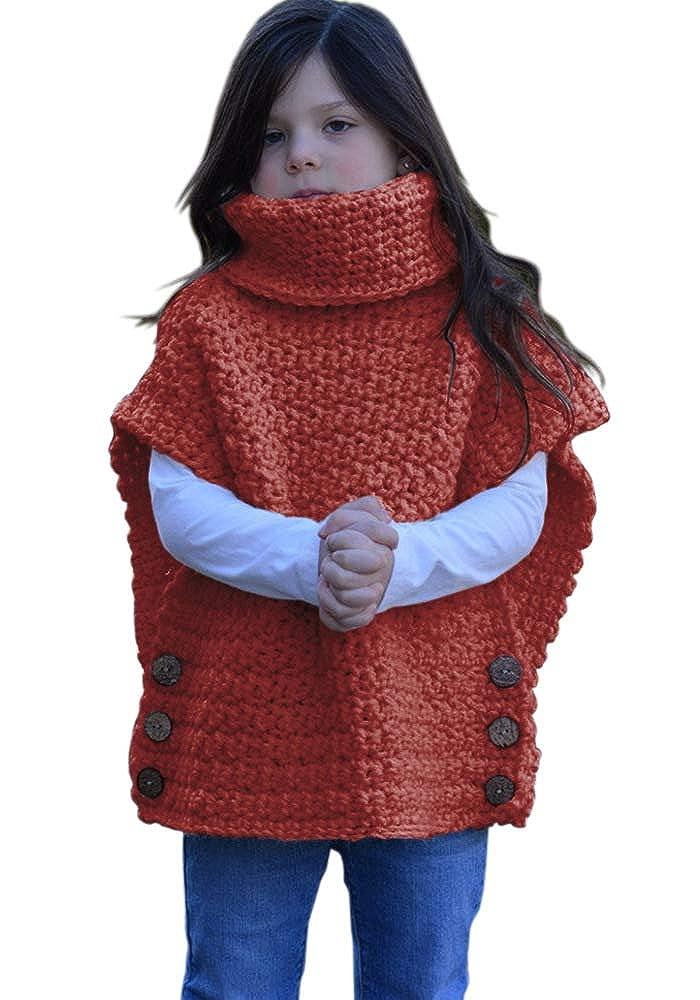 leyay Kids Girls Knit Sweater Cape Cute Jumper Turtleneck Button Vest Cardigan