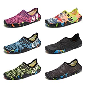 CIOR Men Women Kid's Barefoot Quick-Dry Water Sports Aqua Shoes with 14 Drainage Holes for Swim, Walking, Yoga, Lake, Beach, Garden, Park, Driving,SYY05,mcred,39