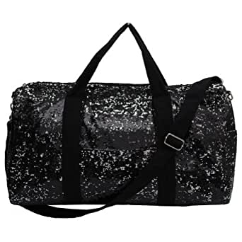 Adorable 2 Tone Sequin Cheer Dance Yoga Girly Duffle Bag (Black)