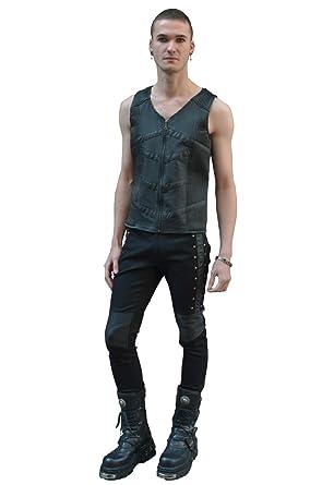 Gothique Pentagramme Homme Cuir Steampunk pour Pantalon avec Simili ZrwCrA5qx