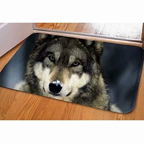 (Dellukee Indoor Outdoor Doormats Cute Grey Wolf Printed Non Slip Durable Washable Funny Home Decorative Door Mats Bath Rugs for Entrance Bedroom Bathroom Kitchen, 23 x 16 Inches)