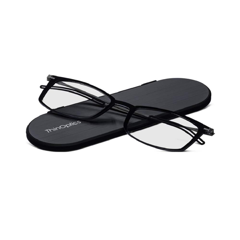 ThinOptics Brooklyn reading glasses + Milano anodized aluminum, magnetic case | Rectangular black frames, 1.50 Strength by ThinOptics