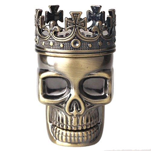 Coper® King Skull Metal Tobacco Spice Grinder Crusher 3pcs Pollen Catcher - Premium Quality (Bronze) (Singles Herbal Caps 100)