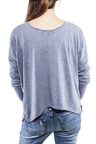 Ella Manue Women Oversize Shirt Camiseta para Mujer Longsleeve Jules Blue