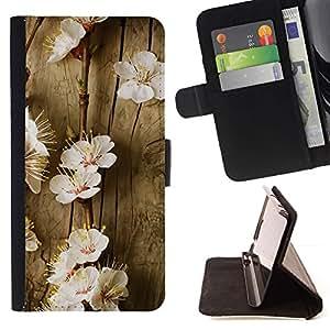Momo Phone Case / Flip Funda de Cuero Case Cover - Flores del árbol de la primavera floreciente Blanco Naturaleza - Samsung Galaxy Core Prime