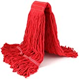 String Mop Head Fit O-Cedar Rubbermaid Heavy Duty Loop-End String Mop Refills Super Stitch Blend Large Mop Heads Replacement (Red)