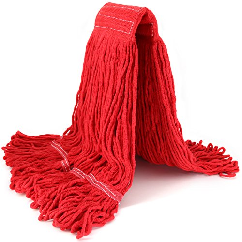(String Mop Head Fit O-Cedar Rubbermaid Heavy Duty Loop-End String Mop Refills Super Stitch Blend Large Mop Heads Replacement (Red))