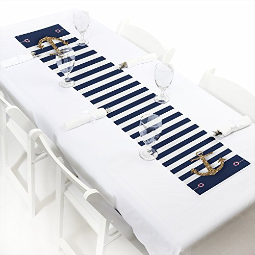 Big Dot of Happiness Last Sail Before The Veil - Petite Nautical Bridal Shower & Bachelorette Party Paper Table Runner - 12