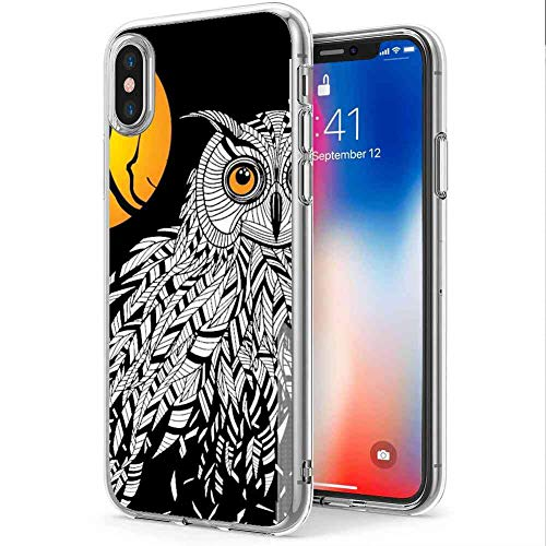 Compatible with Apple iPhone Xs (2018) or iPhone X (2017) or iPhone 10 (2017) [5.8 Inch] owl-Bird-Head-as-Halloween-Symbol]()