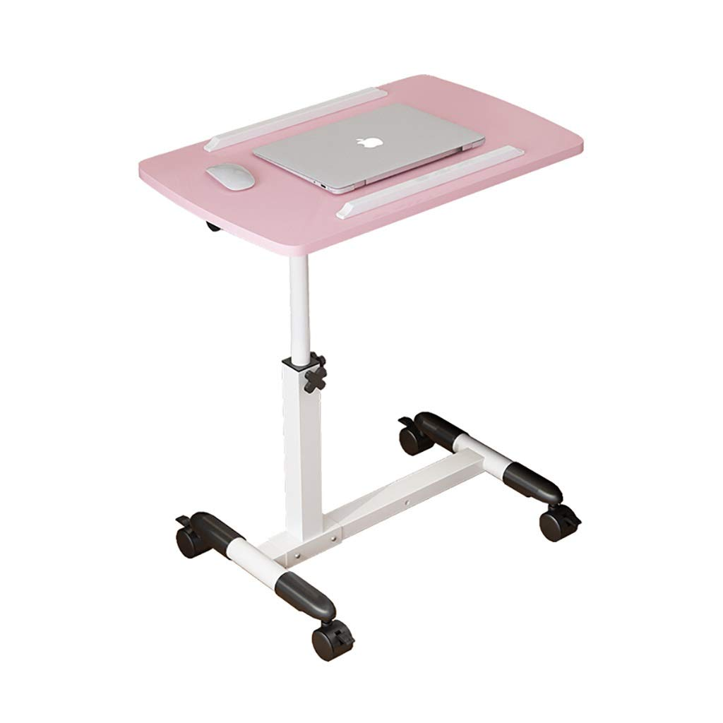 RFQ Laptop Bedside Table, Adjustable Overbed Mobile Desk, Laptop Desk, Lift Lazy Bedside Table Adjustable Lift and Fold, Lazy Table, Pink, 62-90cm Tilt Table for Hospital and Home (Color : Luxury)