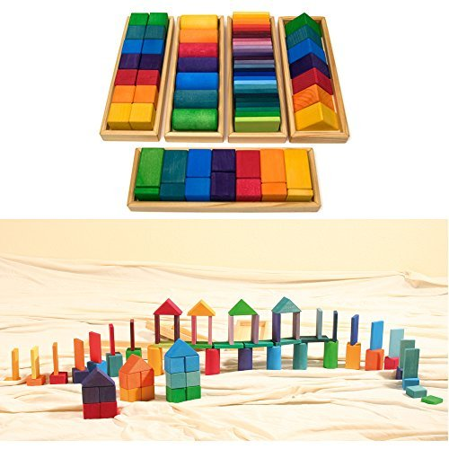 Grimm's Large Shapes & Colors Building Set, Part 1 - Colorful Wooden Blocks in 5 Geometric Forms with Storage Trays (4x4 Size) (Grimm Wooden Toys)