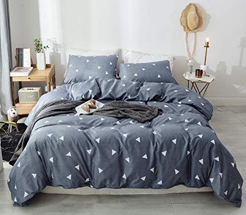 Janzaa 3pcs Triangle Comforter Set Queen, Soft Microfiber Modern Pattern Home Bedding Comforter Set with 2 Pillow Cases(Queen) - Materials: Made of premium quality 100% brushed microfiber material with soft microfiber inner fill. Comfortable,durable,breathable and lightweight to use. Package Included: 1 comforter in queen size: 90x90 inches, 2 pillow cases 20x26 inches. Modern Design: White Triangle Print. Adding an extra layer of Modern elegant style to match your room decor. Perfect as a Great gift idea for men and women on special occasions. - comforter-sets, bedroom-sheets-comforters, bedroom - 51A4rRI6uTL -