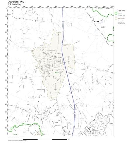 Amazon.com: ZIP Code Wall Map of Ashland, VA ZIP Code Map Not