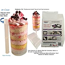 """Giarraffa Co Cake Push Pop Containers 24 Ct with Screw in Stick and Base, 1"""" Flat Top Lids and 1-12 Hole Paperboard Tray"""