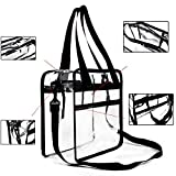 Youngever Clear Bag 12 X 12 X 6, Stadium Approved, Clear Tote Bag, Heavy Duty, Shoulder Straps and Zippered Top and Inside (1 Pack)