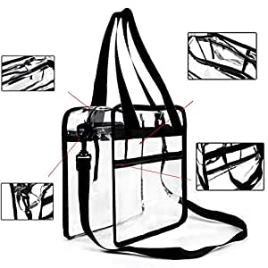 Youngever Clear Bag - 12 X 6 X 12 (inch) - Stadium Approved - Clear Tote Bag - Heavy Duty - Shoulder Straps Zippered top - Both Inside Outside Zipped