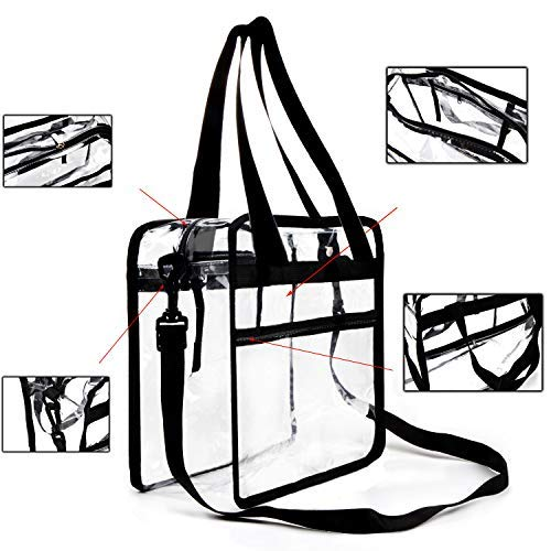 (Youngever Clear Bag 12 X 12 X 6, Stadium Approved, Clear Tote Bag, Heavy Duty, Shoulder Straps and Zippered Top and Inside (1 Pack))