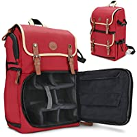 GOgroove Full-size DSLR Camera Backpack Case (Red) for Photography and Laptop Travel Use w/Accessory Storage Room , Tripod Holder & Weatherproof Rain Cover for Sony a6000 , Canon EOS T6 , Nikon D5500