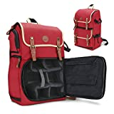 GOgroove Full-Size Red Digital SLR Camera Backpack Case for Nikon D850 - Photography and Laptop Travel Bag with Accessory Storage Room, Tripod Holder & Weatherproof Rain Cover
