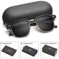 LUENX Men Women Clubmaster Polarized Sunglasses:UV 400 Protection 51MM with Case