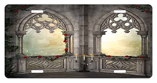 Gothic License Plate by Ambesonne, Vintage Style Ottoman Palace Balcony for Sultans with Red Rose Flowers Ivy Terrace Image, High Gloss Aluminum Novelty Plate, 5.88 L X 11.88 W Inches, Beige Rose Terrace