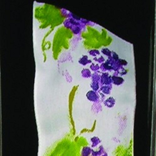 White, Purple and Green Wired Taffeta Print Grapes on the Vine Garden Ribbon 1.5