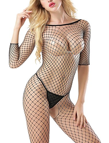 Vorifun Womens Sexy Crotchless Bodystocking Strap Bodysuits Thigh Lingerie Fishnet(Black) (Black 8)