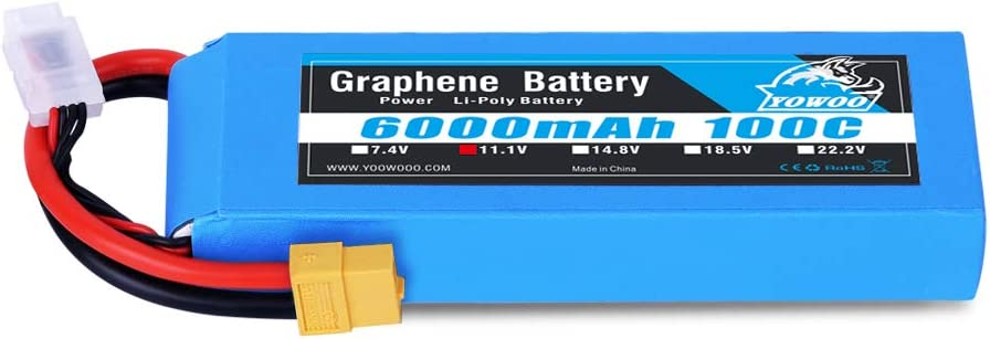YOWOO Graphene Lipo 11.1V 6000mAh 100C XT60 RC Batería con XT60 Plug para RC Helicóptero, Avión, Multirotor, Barco, Coche, Camión, Traxxas E-Revo 6s sin escobillas, Axial Yeti XL 1/8, E-Revo 2.0 Arrma